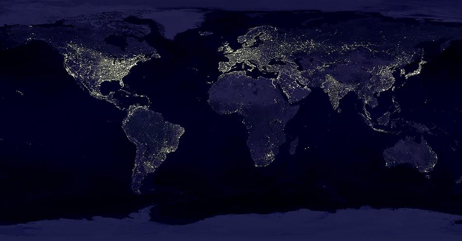 light pollution across the world