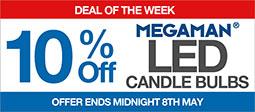 10% Off Selected Megaman Candle Bulbs
