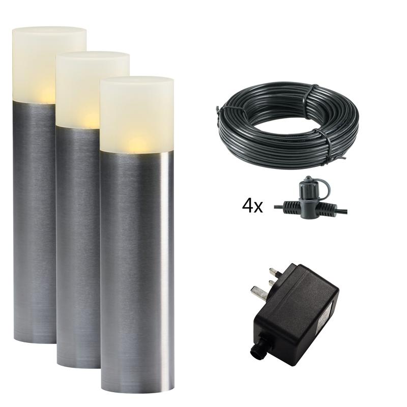 Techmar Plug and Play Oak LED Garden Post Lights Set of 3