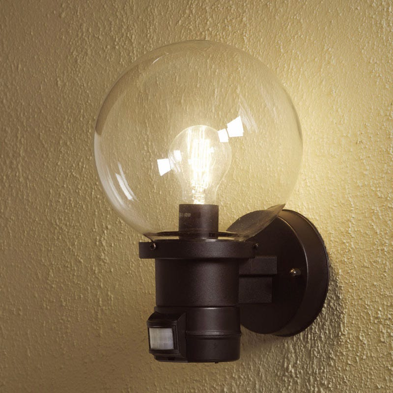 Konstsmide Nemi Globe Outdoor Wall Light with PIR Sensor