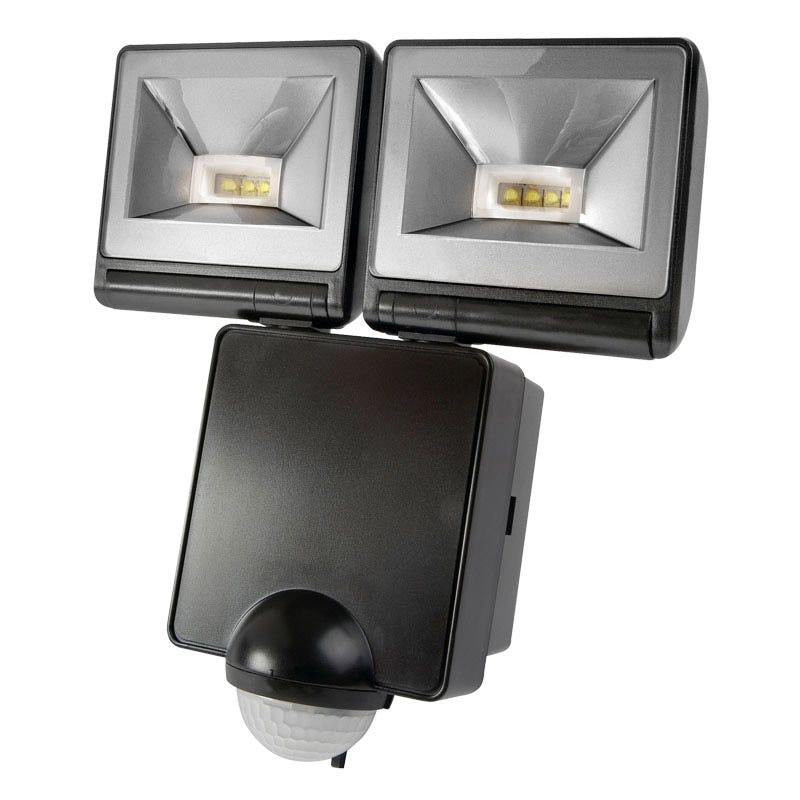 LED PIR Twin Floodlight   Black   Lyco Direct. Outdoor Pir Led Security Lights. Home Design Ideas