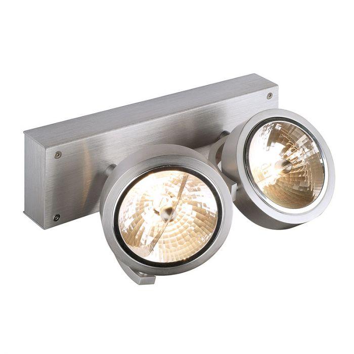 SLV Kalu 2 Light Spotlight Brushed Aluminium