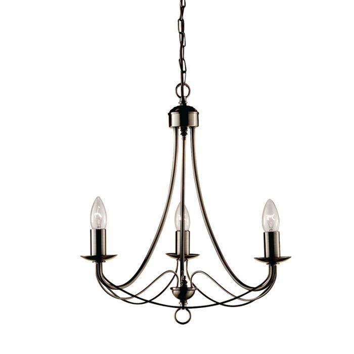 searchlight maypole 3 light chandelier ceiling light  antique brass