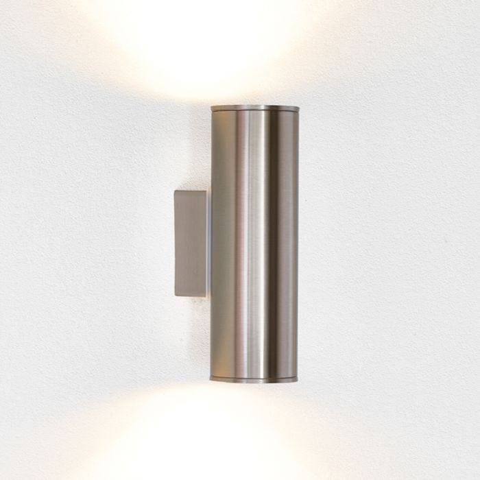 Eglo riga twin led outdoor wall light stainless steel lyco