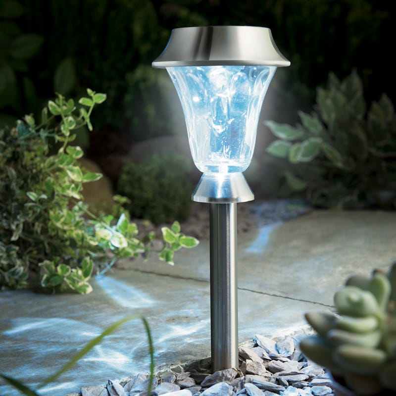 Cole and Bright Stainless Steel LED Solar Post and Table