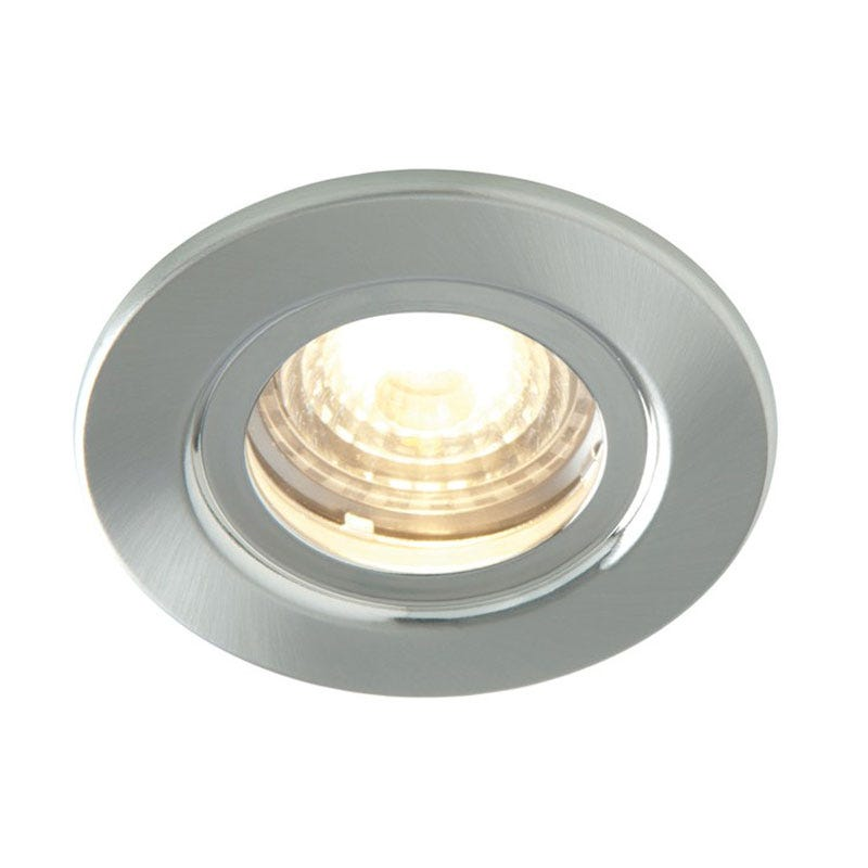 Luceco Atom 5W Dimmable Warm White LED Fire Rated Downlight Brushed Steel