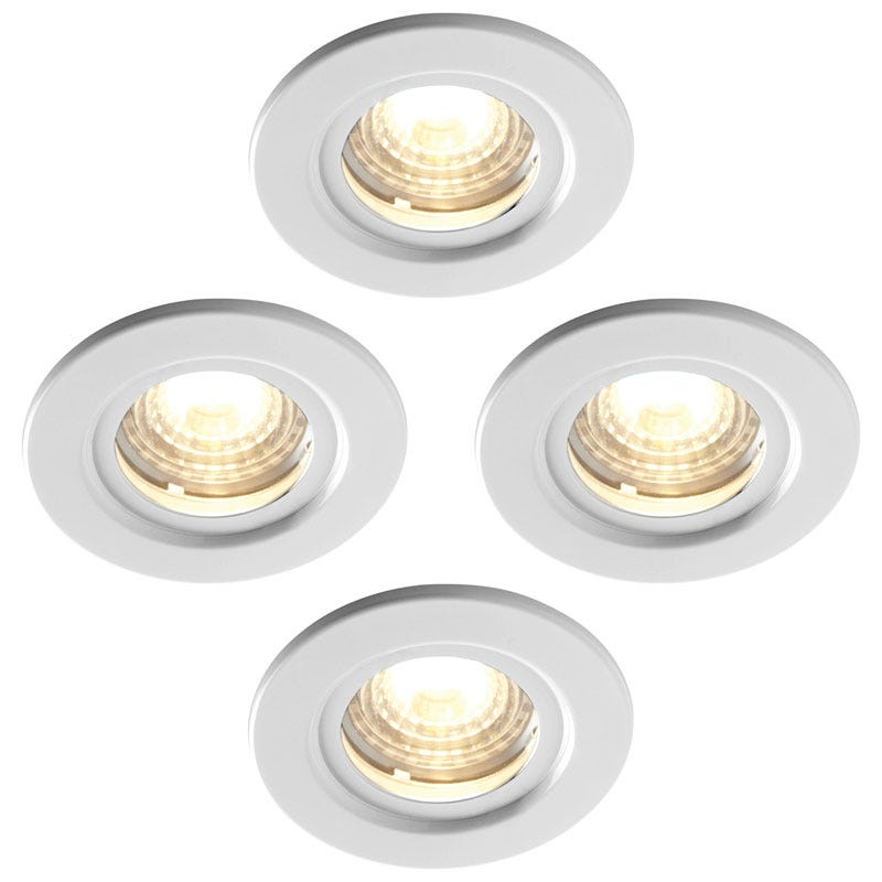 Luceco Atom 5W Dimmable Warm White LED Fire Rated Downlights Pack of 4