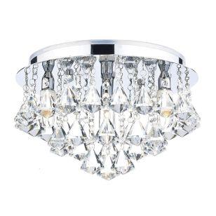 Dar Fringe Crystal Flush Light - Polished Chrome