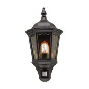 Elstead Medstead Half Lantern Outdoor Wall Light with PIR Sensor - Black