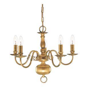Searchlight Flemish 5 Light Chandelier - Antique Brass