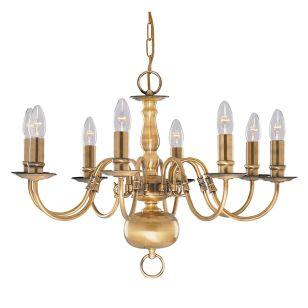Searchlight Flemish 8 Light Chandelier - Antique Brass