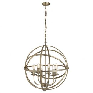 Searchlight Orbit 6 Light Ceiling Pendant Light - Antique Brass