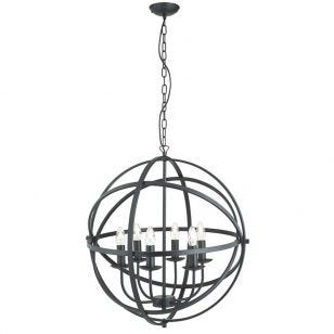 Searchlight Orbit 6 Arm Ceiling Pendant Light - Black