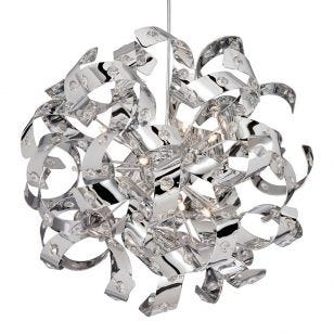 Searchlight Curls 6 Light Ceiling Pendant Light - Chrome