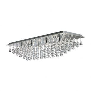 Searchlight Hanna Large Flush Ceiling Light - Crystal Drops