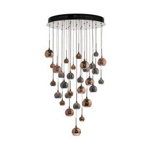 Dar Aurelia 30 Light Glass Cluster Ceiling Pendant - Copper & Bronze