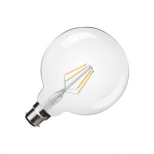 Kosnic 4.5W Warm White LED Clear Filament 125mm Globe Bulb - Bayonet Cap