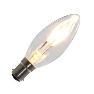 Tagra 3W Warm White Dimmable LED Curved Decorative Filament Candle Bulb - Small Bayonet Cap