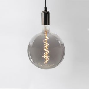 Tagra LED Large Smoked Globe Ceiling Pendant Light - Gun Metal