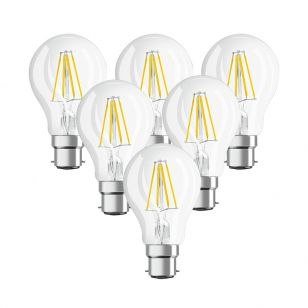 Osram 7W Warm White Dimmable LED Decorative Filament GLS Bulb - Bayonet Cap - Pack of 6