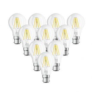 Osram 7W Warm White Dimmable LED Decorative Filament GLS Bulb - Bayonet Cap - Pack of 10
