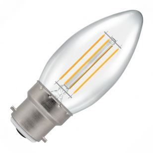 Crompton 5W Warm White Dimmable LED Decorative Filament Candle Bulb - Bayonet Cap