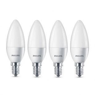 Philips 5.5W Warm White LED Candle Bulb - Small Screw Cap - Pack of 4