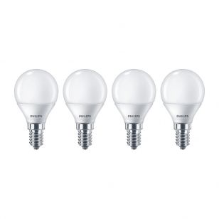 Philips 5.5W Warm White LED Golfball Bulb - Small Screw Cap - Pack of 4
