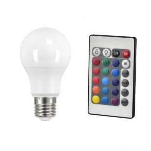 9W White and RGB Colour Changing LED GLS Bulb with Remote Control - Screw Cap
