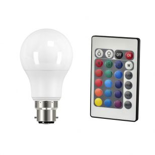 9W White and RGB Colour Changing LED GLS Bulb with Remote Control - Bayonet Cap