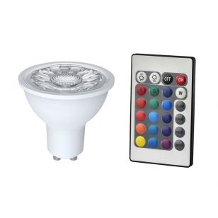 4.5W White and RGB Colour Changing LED GU10 Bulb with Remote Control