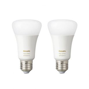 Philips Hue 8.5W White Changing LED Dimmable Bluetooth GLS Bulb - Screw Cap - Pack of 2
