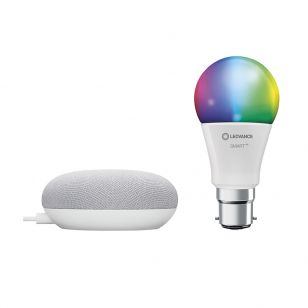 Ledvance Smart+ 9W White and Colour Selectable LED Dimmable Bluetooth GLS Bulb with Google Nest Mini Starter Kit - Bayonet Cap