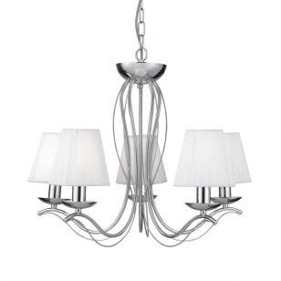 Searchlight Andretti 5 Light Chandelier - Polished Chrome