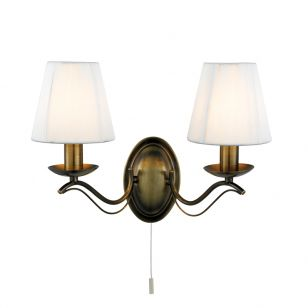 Classic 2 Arm Wall Light - Antique Brass