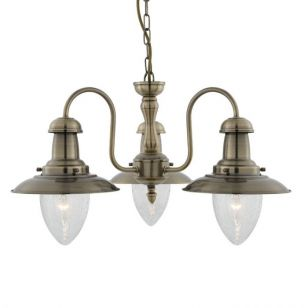 Searchlight Fisherman 3 Light Chandelier - Antique Brass