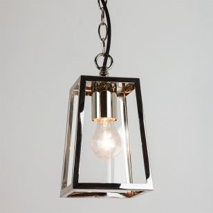Astro Calvi Pendant Porch Lantern - Polished Nickel