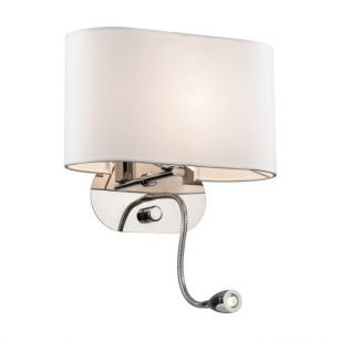 Sheraton Wall Light with LED Reading Light - White