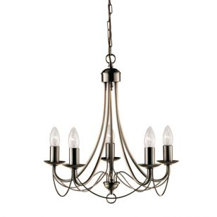 Searchlight Maypole 5 Light Chandelier - Antique Brass