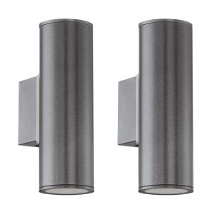 Pack of 2 Eglo Riga Twin LED Outdoor Up & Down Wall Light - Anthracite
