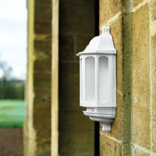 ASD LED Half Lantern Outdoor Wall Light with Dusk to Dawn Sensor - White