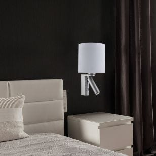 Sense Wall Light with LED Reading Light - Satin Silver