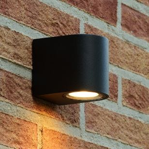 Lucide Zora Round LED Outdoor Wall Light - Black