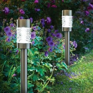 Martello Outdoor Solar LED Stake Light - Brushed Stainless Steel - Set of 4