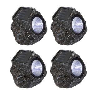 Suri Rock Solar LED Spotlight - Grey - Set of 4