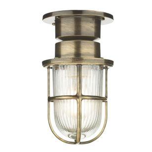 David Hunt Coast Outdoor Semi Flush Ceiling Light - Antique Brass