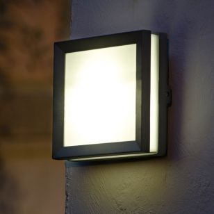 Lutec Mini Seine Plain LED Outdoor Wall Light - Graphite