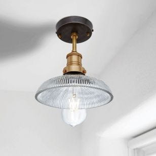 Industville Brooklyn Antique Ribbed Glass Dome Semi-Flush Ceiling Light - Antique Brass