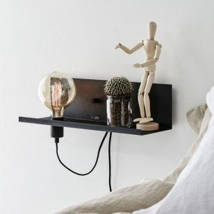 Multi Shelf and Wall Light with USB Charging Port - Black