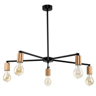 Edit Stick 5 Arm Ceiling Pendant Light - Black and Copper